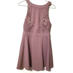 Charlotte Russe mini dress in mauve with lace M